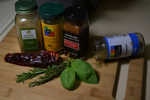 Herbs and Spices, vegan pantry staples, cumin, red peper flakes, oregano