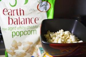 Earth Balance Aged White Cheddar Vegan popcorn